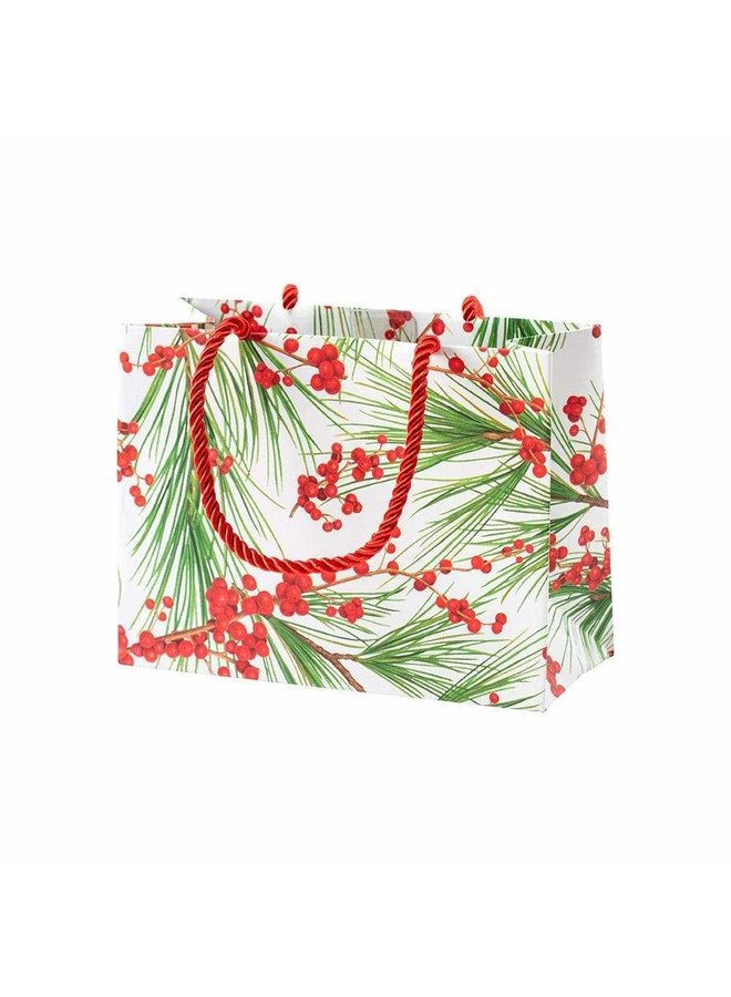 Berries and Pine Small Gift Bag in White- 1 Each