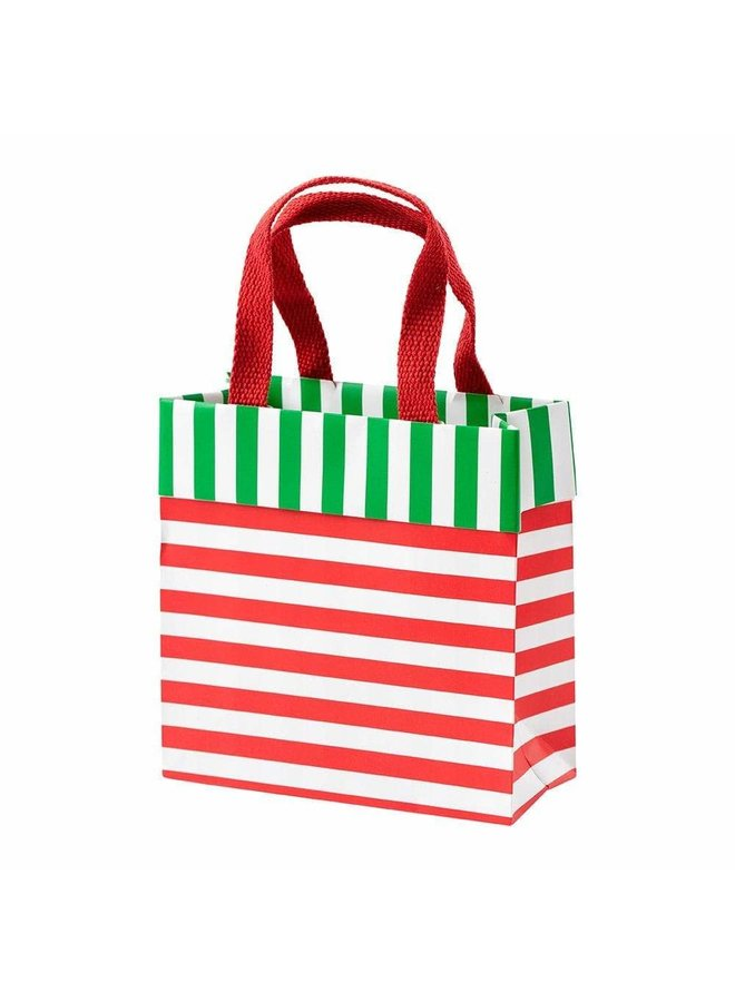 Club Stripe Small Square Gift Bag in Red & Green - 1 Each