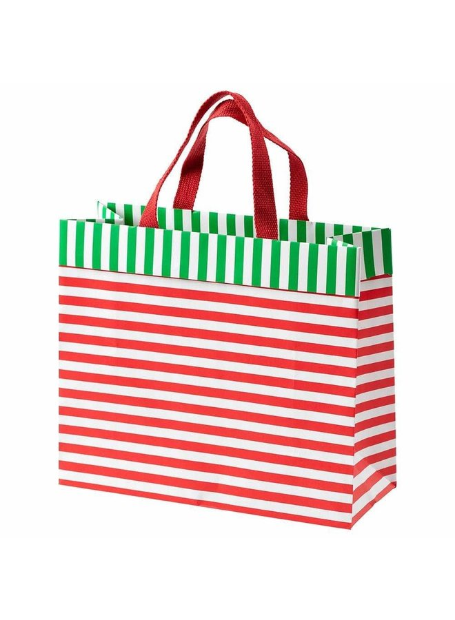 Club Stripe Large Gift Bag in Red & Green - 1 Each