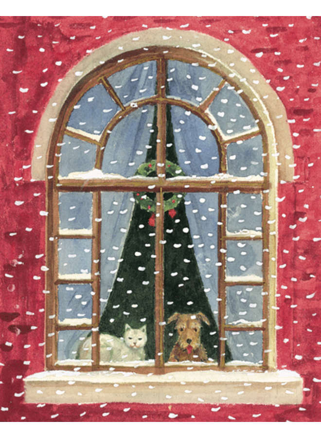 Cat And Dog At Window Christmas Card Boxed 16 cards & envelopes