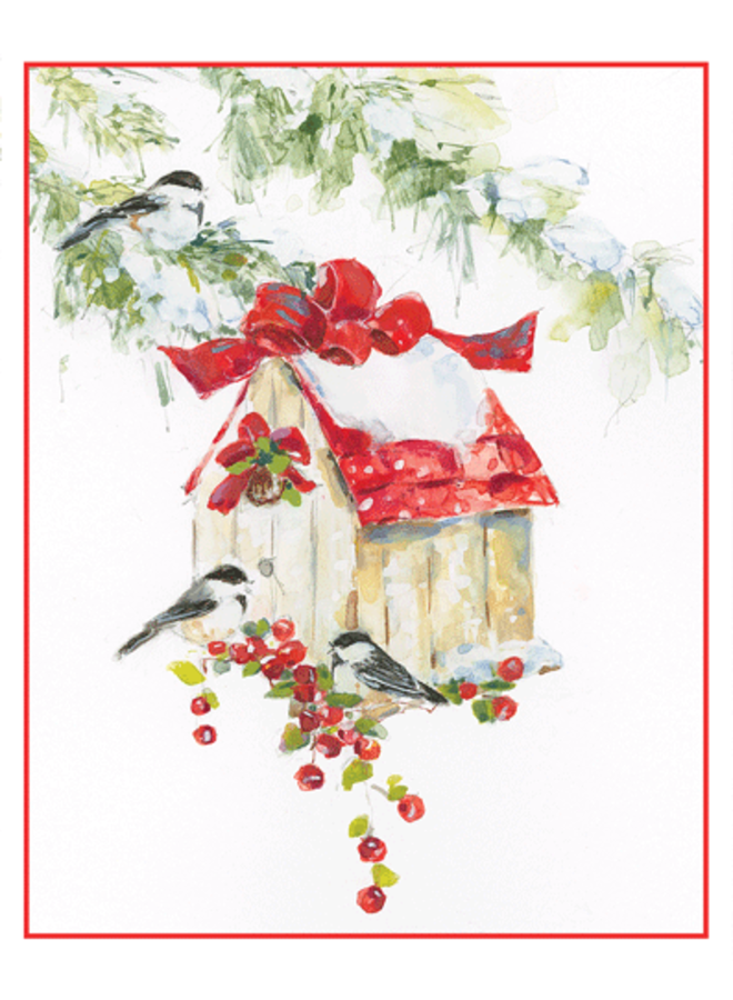 Chickadees And Birdhouse Christmas Card Boxed 16 cards & envelopes