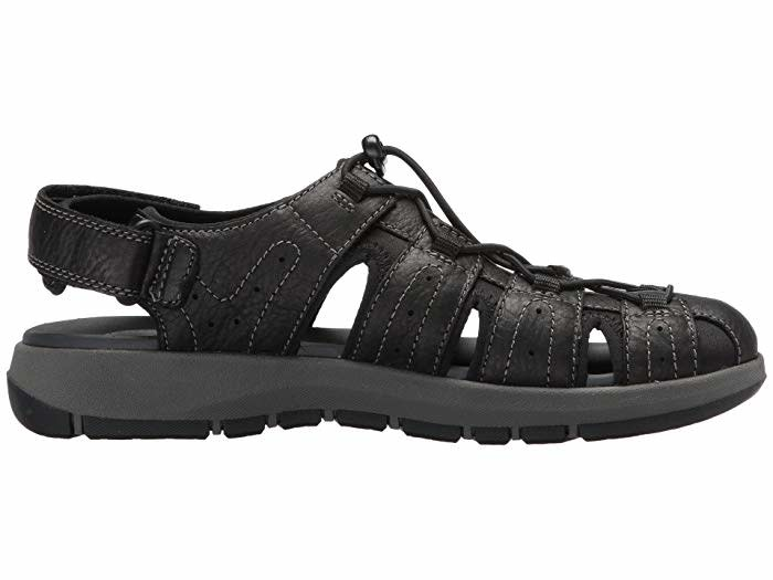 Men/'s Clarks Sandals Brixby Cove Black  Leather  26133891