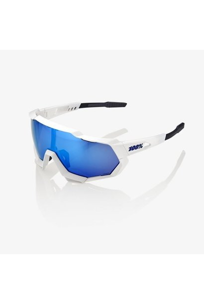 100% Speedtrap White/Hiper Blue Lens