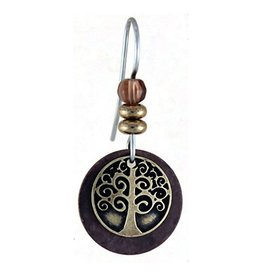 Earth Dreams Brass Tree of Life Earrings, Brown Stone