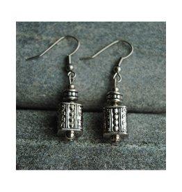 Nusantara white metal square small earrings
