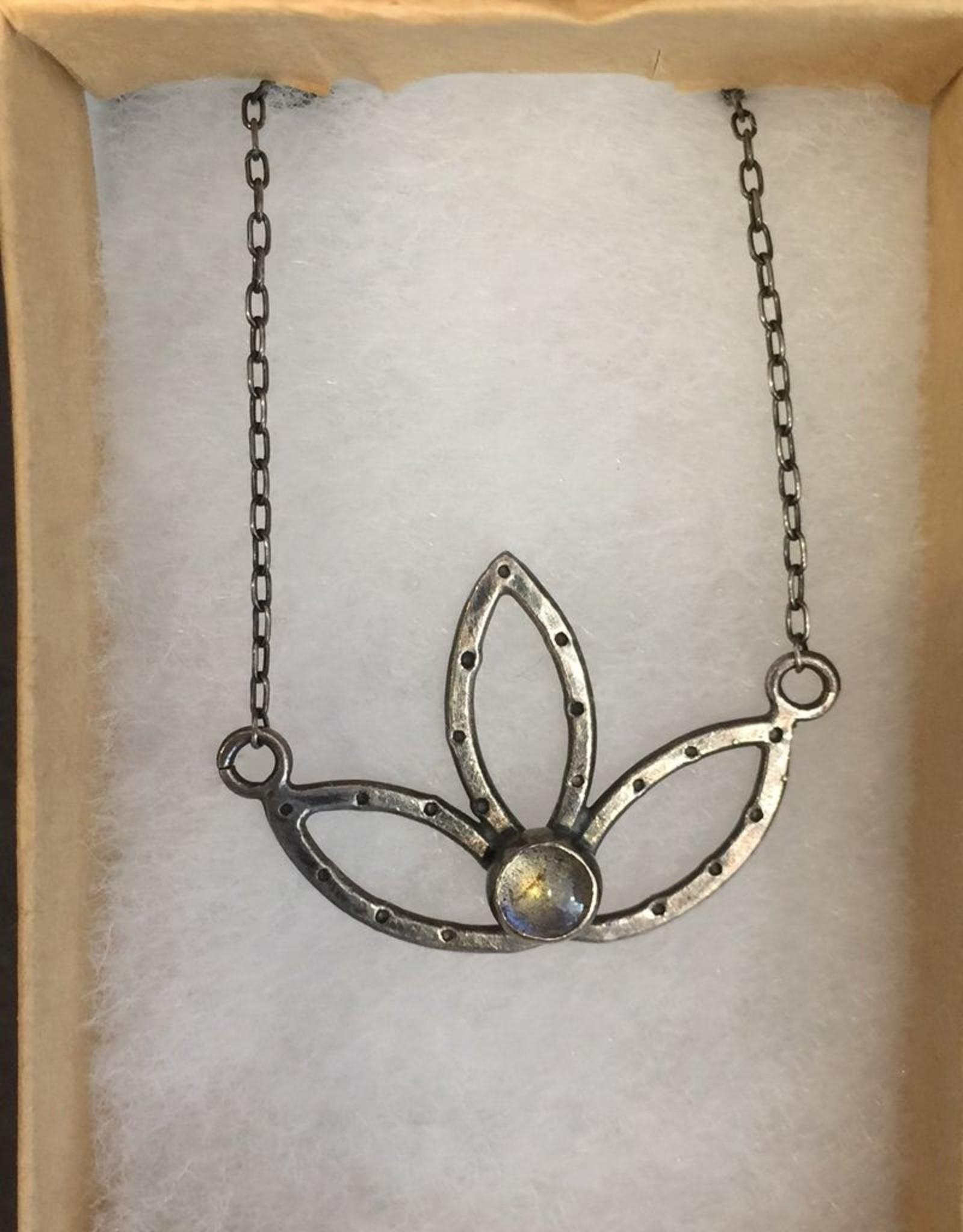 Lucky 7 Southpaw Craft handmade sterling silver lotus, semi-precious stone labradorite