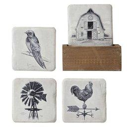Creative Co-op Set of 4 Resin Coasters w/Wood Holder