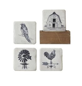 Creative Co-op Set of 4 Resin Coasters w/Wood Holder