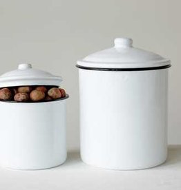 Creative Co-op Round Enameled Canisters, Set of 2