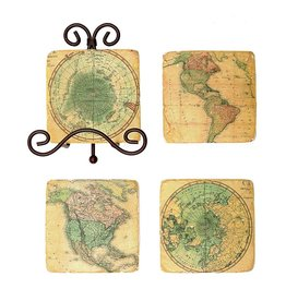 Creative Co-op Set/5 Sq Resin Map Coasters w/Metal Easel