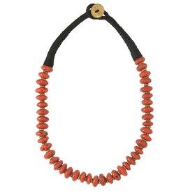 Zig Zag Medium Red & Brass Bead Necklace