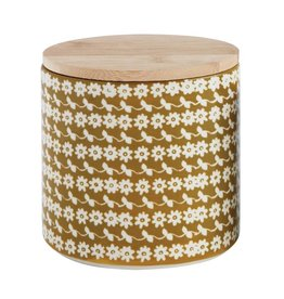 """Creative Co-op 6""""L x 4-1/2""""W x 5-3/4""""H Hand-Stamped Stoneware Canister w/Bamboo Lid w/Flower Pattern"""