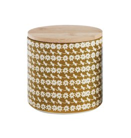 "Creative Co-op 6""L x 4-1/2""W x 5-3/4""H Hand-Stamped Stoneware Canister w/Bamboo Lid w/Flower Pattern"