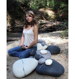 Zig Zag Large Felted Wool Zen Stone Pebble