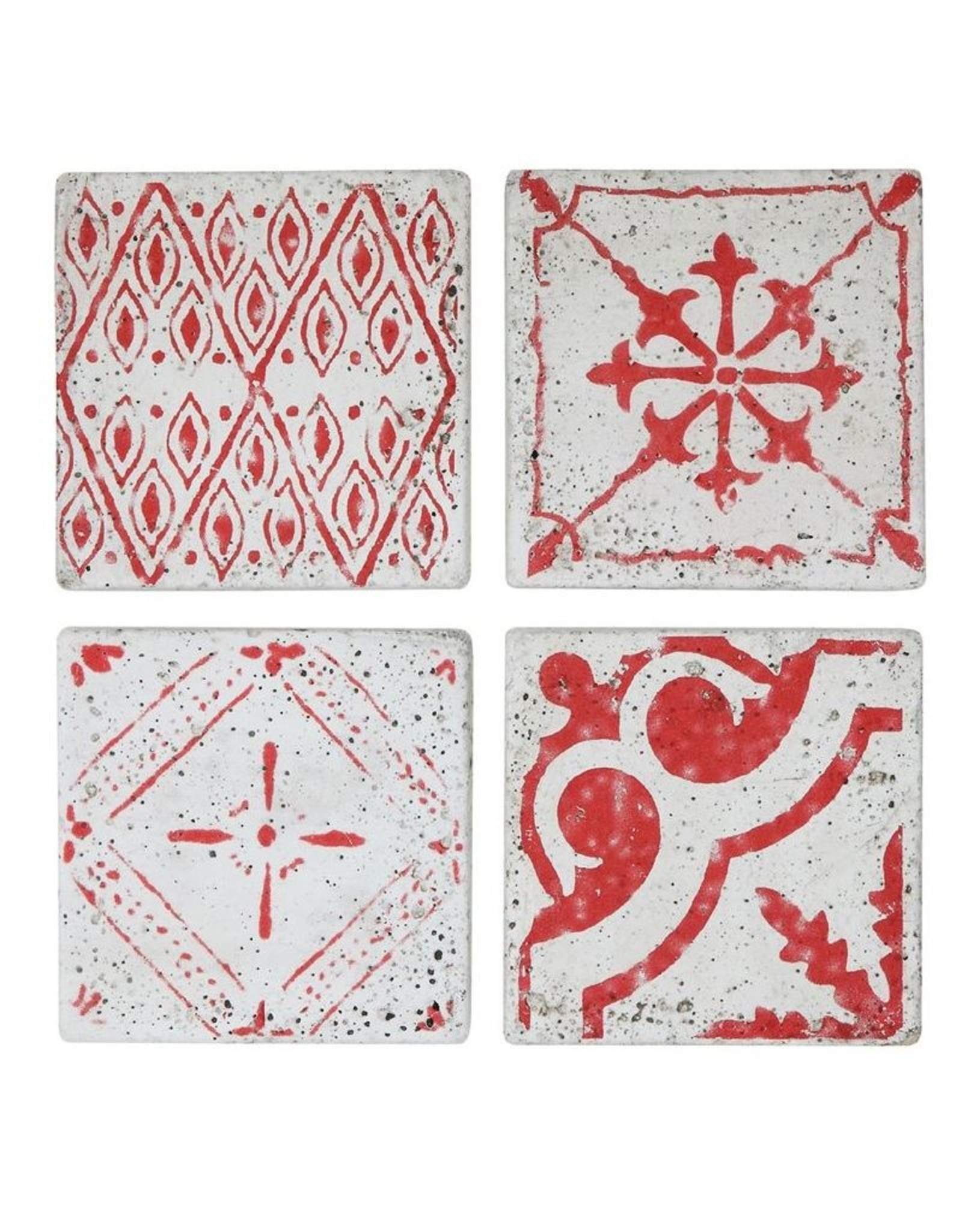 """Creative Co-op 4"""" Square Cement Tile Coasters, Red, Set of 4"""