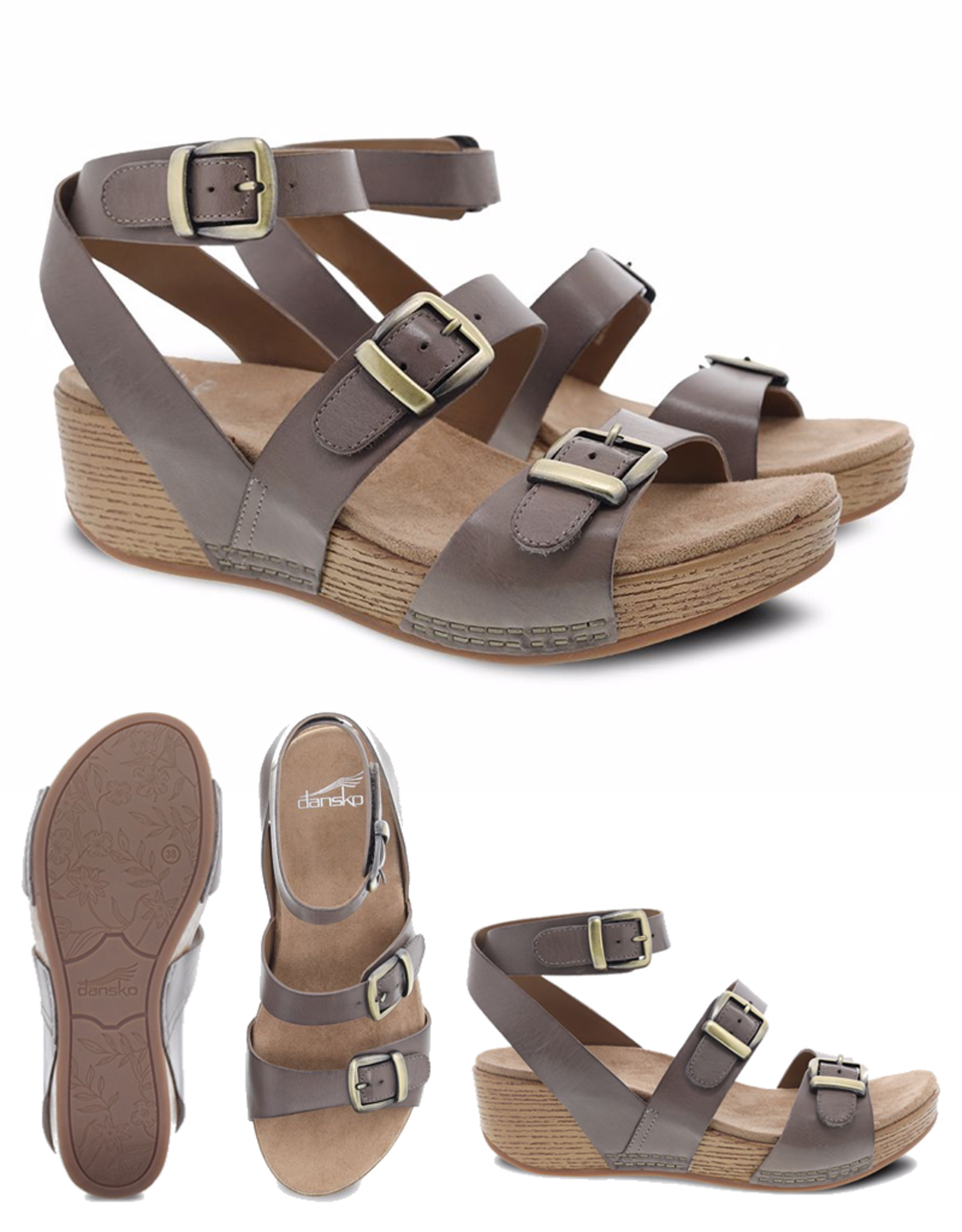 Dansko Lou Burnished Calf Buckle Sandal taupe