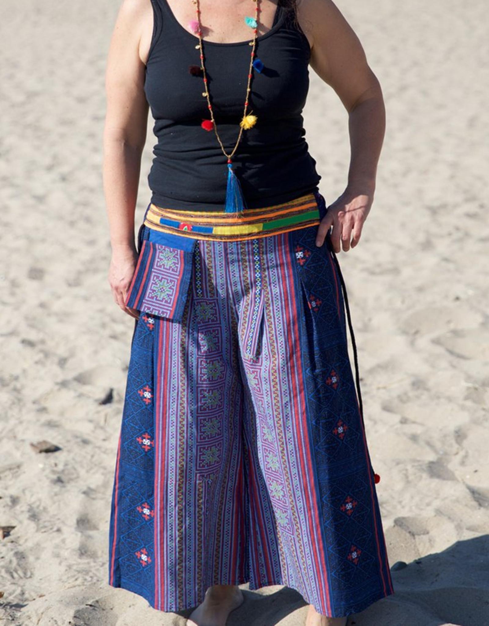 Zig Zag Hmong Tribal Gaucho Pants