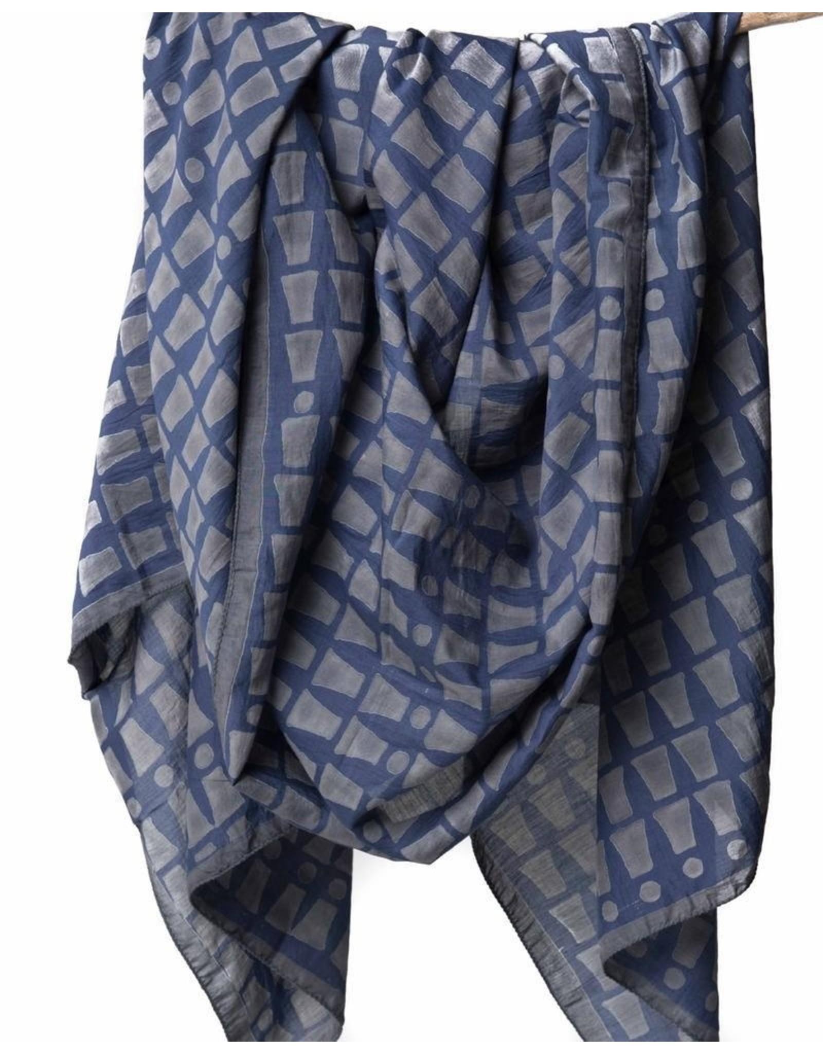 Bloom & Give Bari Navy Silk Cotton Scarf