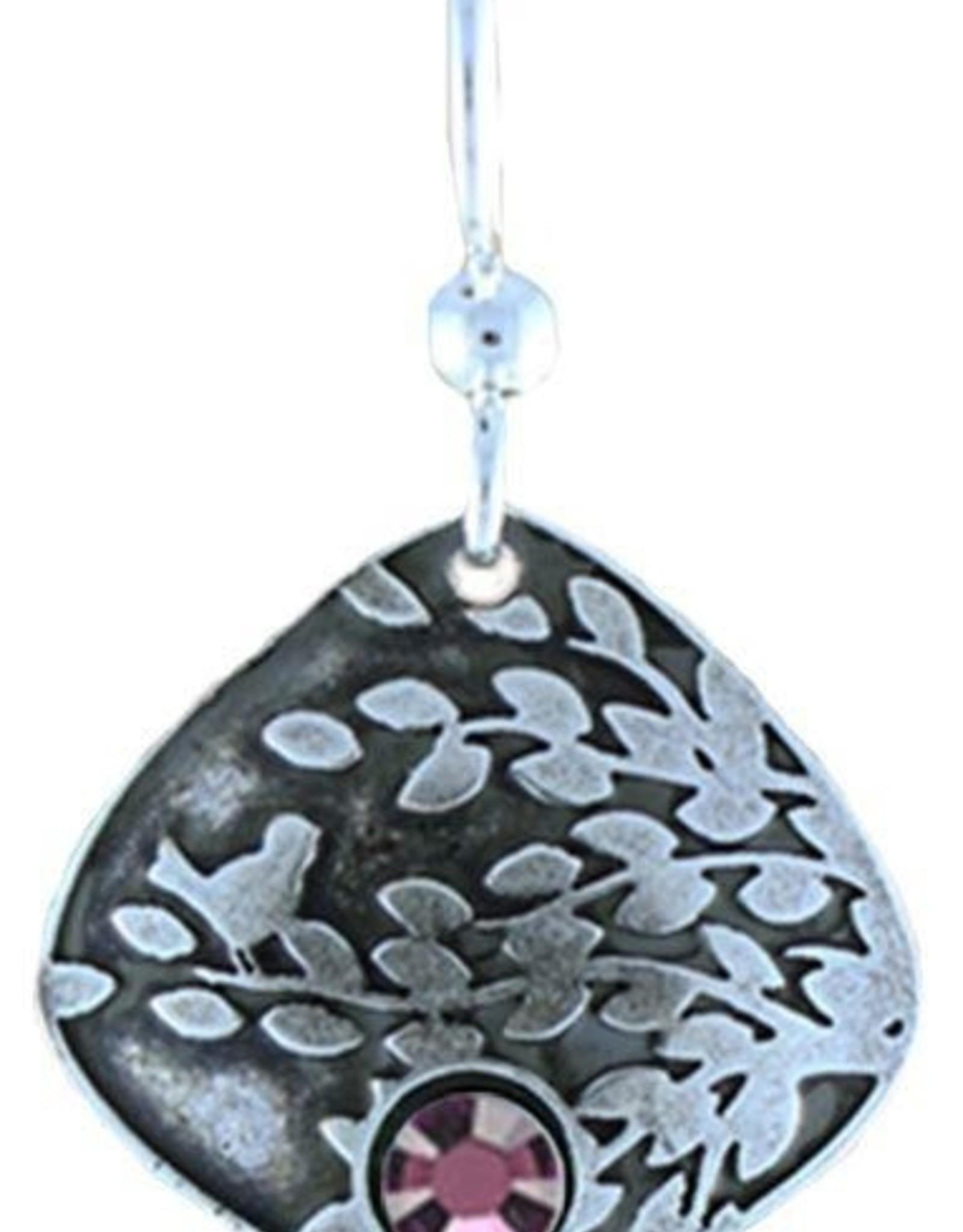 Earth Dreams Leaf & Bird Burst w/Purple Stone Earrings