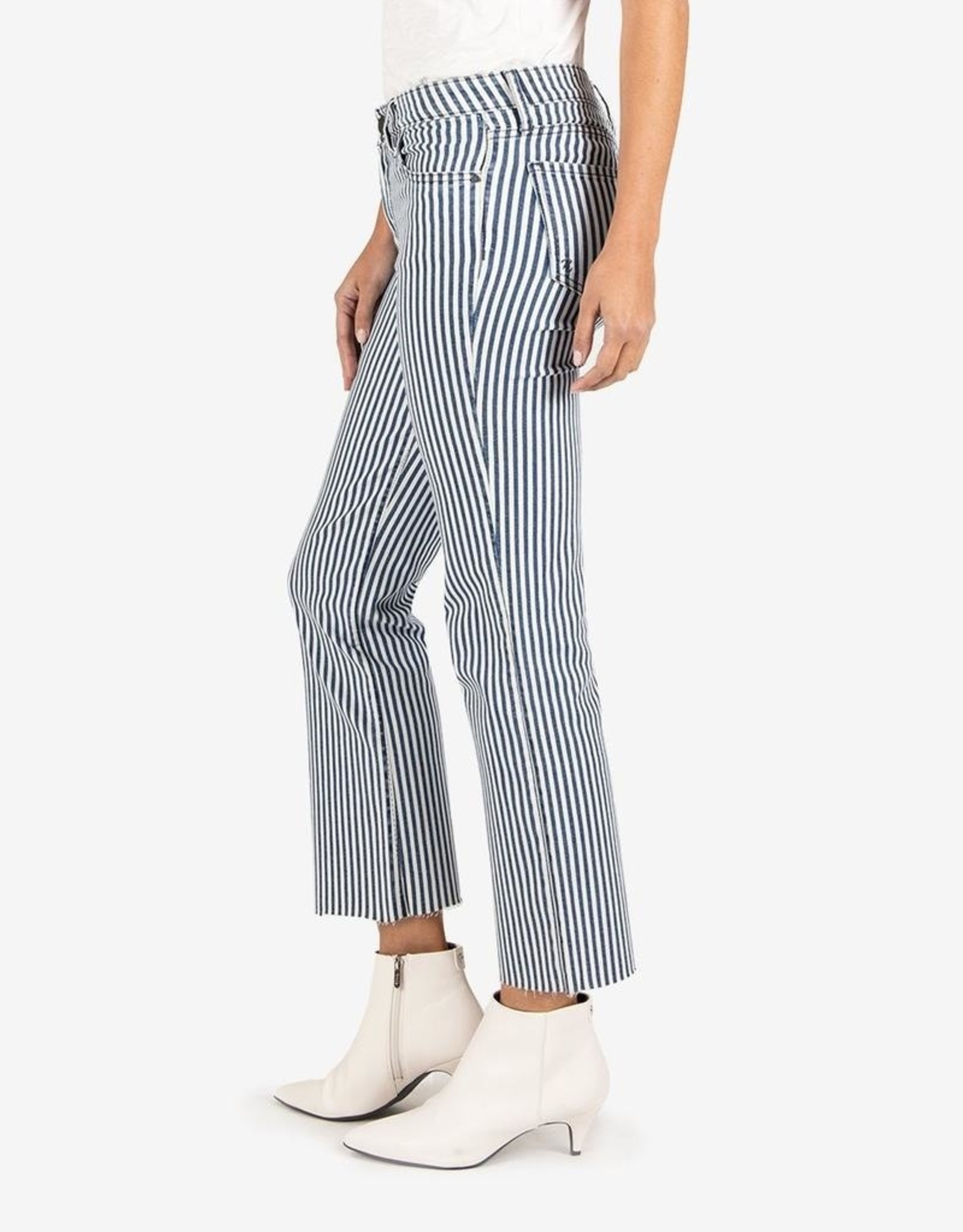 KUT from the kloth Kelsey High Rise Stripe Ankle Flare Jeans