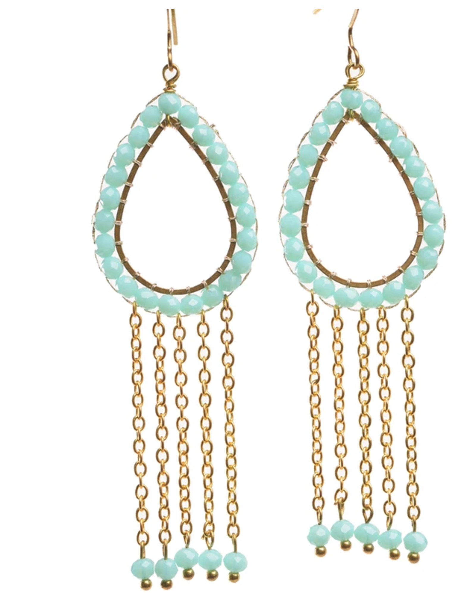 Zig Zag Beaded Teardrop Earrings