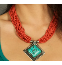 Zig Zag Village Coral Necklace with Turquoise Pendant