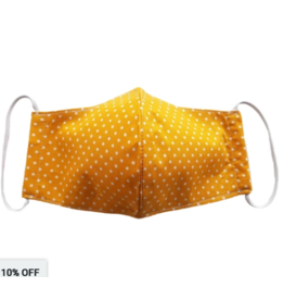 Lumily LIMITED EDITION Face Mask Yellow Polka Dot with Filter Pocket - Adult 100% Cotton