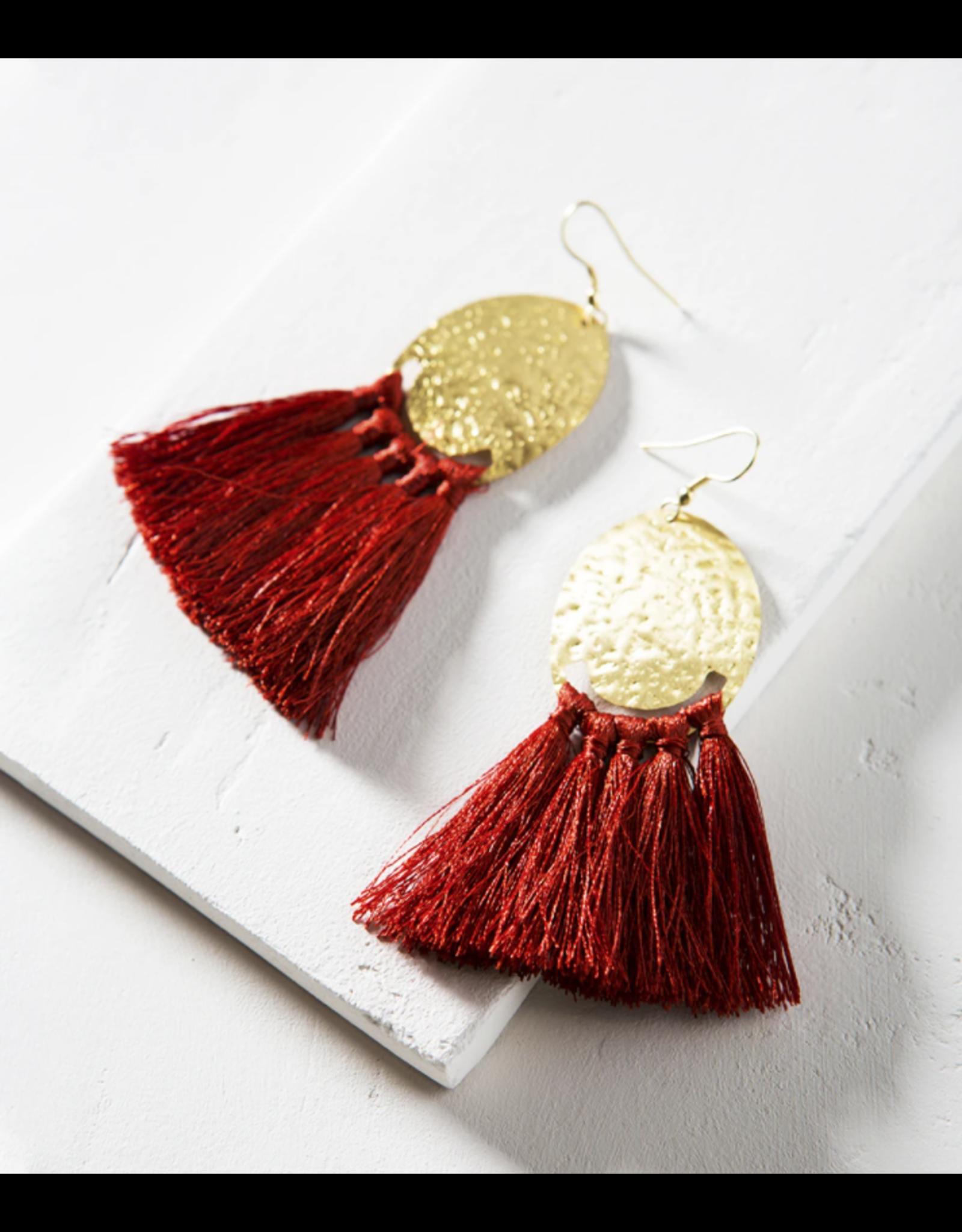 Matr Boomie Nihira Tassel Earrings - Red