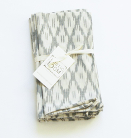 Rustic loom White Ogee Cotton Ikat Cloth Napkins