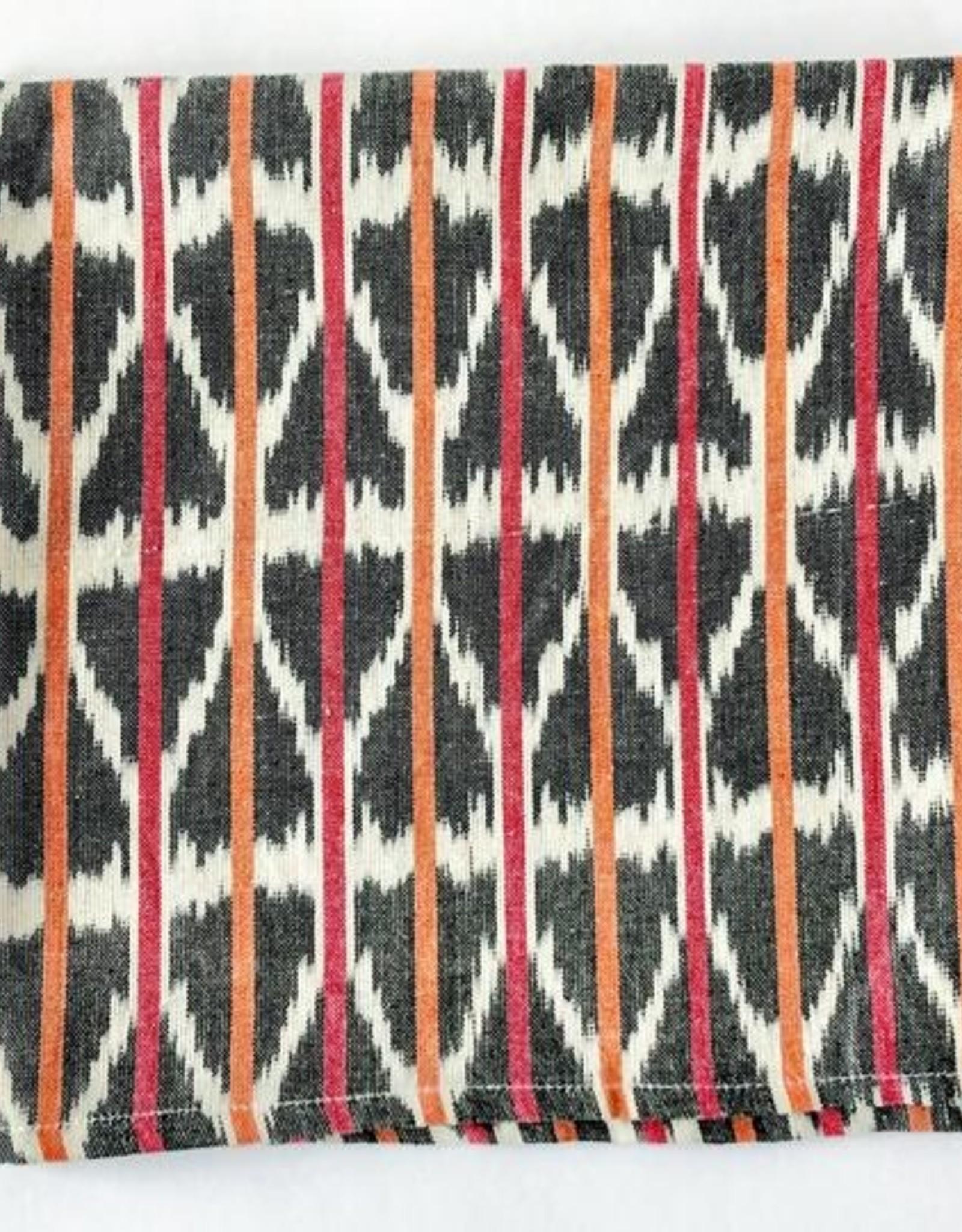 Rustic loom Orange & Pink Stripe Cotton Ikat Cloth Napkins