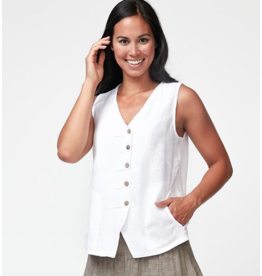 Pleated Front Linen Vest Top