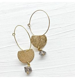 Brazed Brand Hoop & Semi-Circle Earrings with Quartz Stones