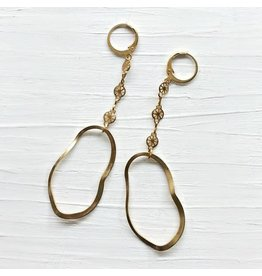 Brazed Brand Wheels & Waves Brass Dangle Drop Earrings