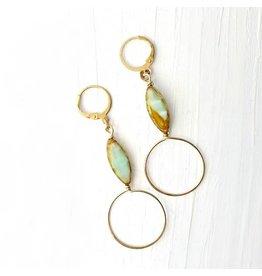 Brazed Brand Mint Green & Toffee Brown Loop Earrings