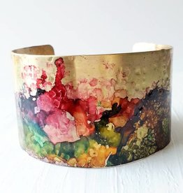 Brazed Brand Ink Splatter Brass Cuff Bracelet