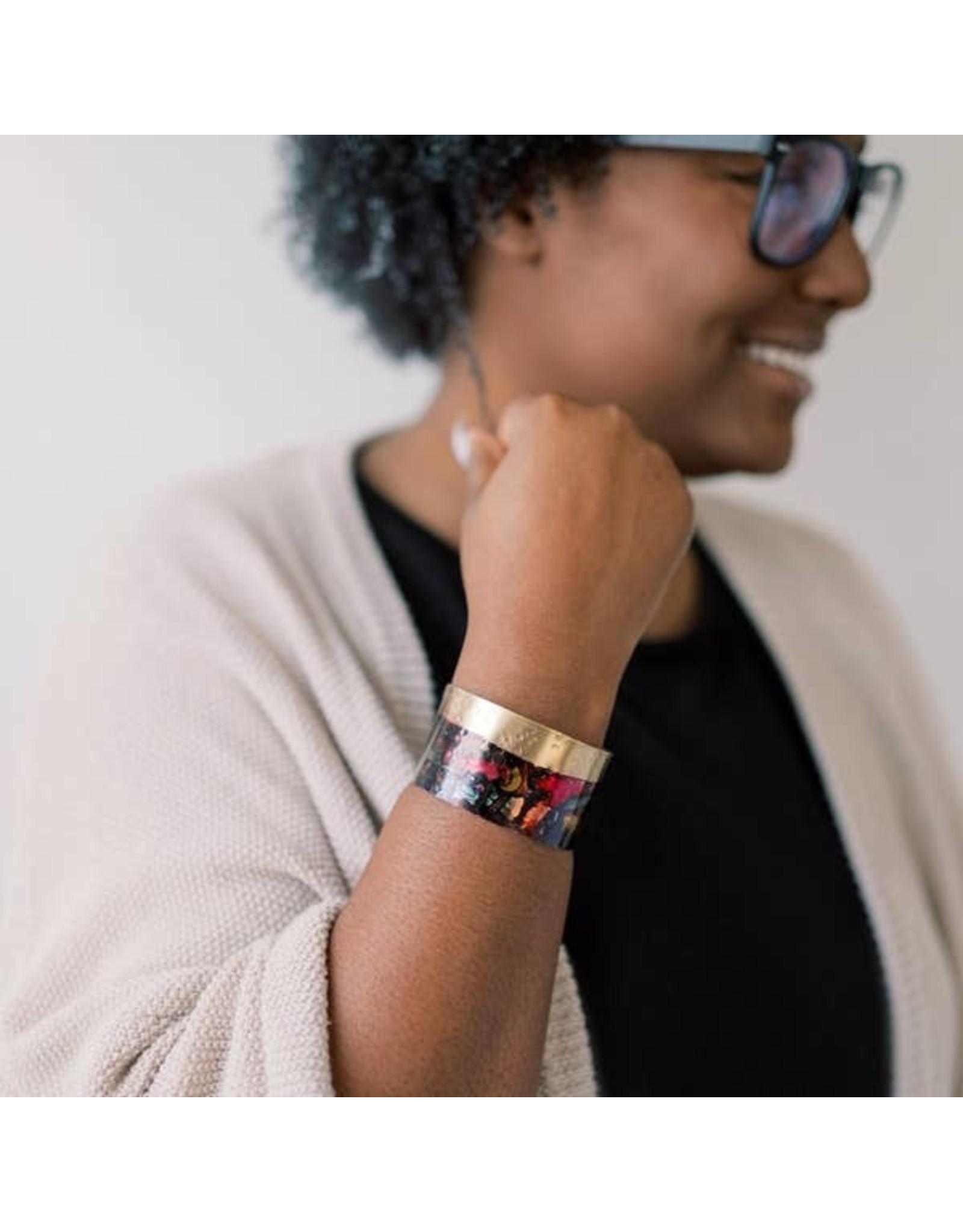 Brazed Brand Ink Splatter Brass Cuff Bracelet
