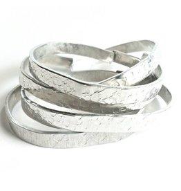 Brazed Brand Hammered Cuff Bracelet Set