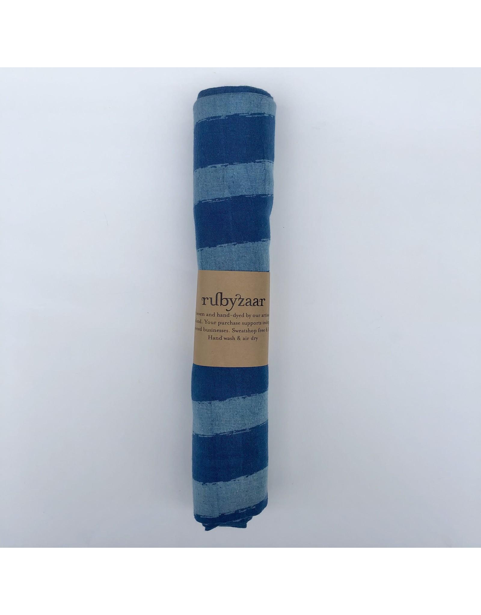 Rubyzaar Indigo Stripe Cotton Scarf