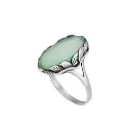 Tiger Mountain Prehnite in Vine Ring