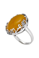 Tiger Mountain Open Flower Yellow Agate Ring
