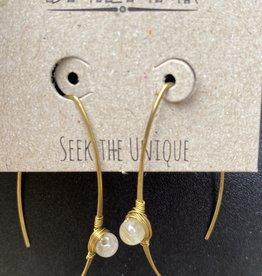Baizaar Thread Stone Earrings