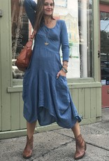 Porto Linen Dress with Knit, Sleeves, Back & Mid Inset