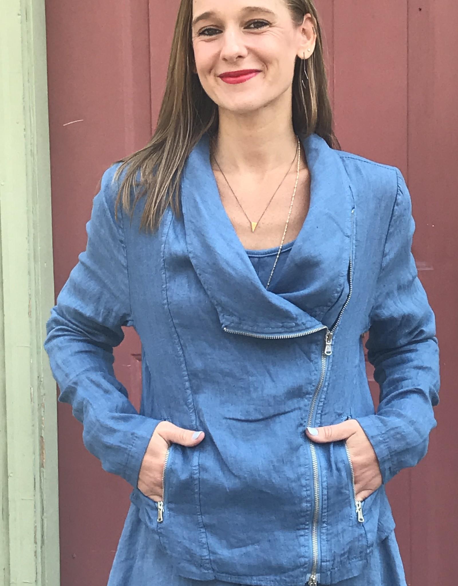 Porto Asymmetric Zip Linen Jacket