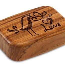 "Heartwood Creations 3"" Wide Teak Bird Love Box"
