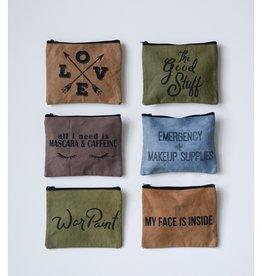 Creative Co-op Distress Cotton Canvas Zip Pouch