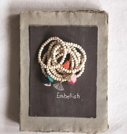 Creative Co-op Wood Santiago Bracelet w/ Cotton Tassel