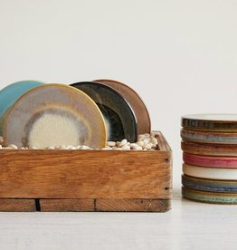 Creative Co-op Round Stoneware Reactive Glass Coaster