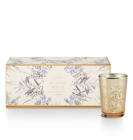 Illume Winter White Mini Lux Sanded Mercury Glass Candle Trio
