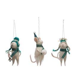 "Creative Co-op 5-1/2""H Wool Felt Mouse Ornament w/ Winter Gear, Assort."