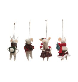 "Creative Co-op 4-3/4""H Wool Felt Mouse Ornament in Red Outfit"